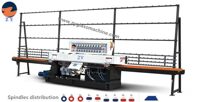ZYE9325-45° glass straight line edging machine(9 spindles)